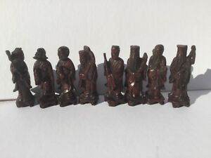 8 Vintage Antique Chinese Carved Longevity Immortals