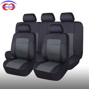 11 Pcs Universal Seat Covers Faux Leather Waterproof Gray For Car Truck Van Suv