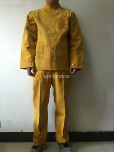Brown Flame resistant Heavy Duty Leather Welding Suits Welders Coveralls
