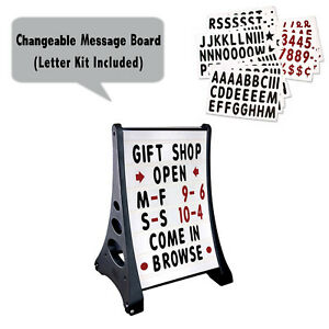 Two Side Xl Quick Load A frame Message Board Changing Letter Sidewalk Sign White