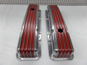 S B Chevy Short Red Polished Fin Valve Covers