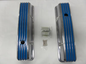 S B Chevy Short Blue Polished Fin Valve Covers