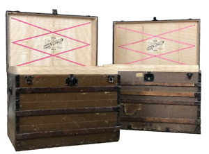 Pair Of Louis Vuitton Antique Steamer Trunks With 5 Trays 1800 S Detroit Paris