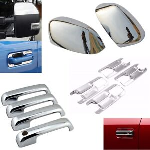 For 2017 2019 Ford F250 F350 Top Half Chrome Mirror 4 Door Handle Bowl Covers