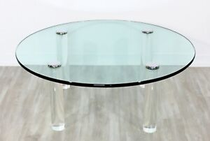 Mid Century Modern Pace Collection Glass Chrome Lucite Round Coffee Table 1970s