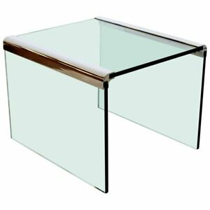 Mid Century Modern Pace Waterfall Side End Table Chrome Glass 1970s