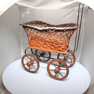 Vtg Blue Red Wicker Stroller Carriage Baby Doll Buggy Antique