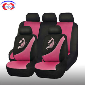 11pcs Universal Car Seat Covers Polyester Butterfly Embroidery Black