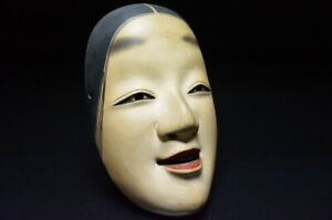 Japanese Wooden Mask Noh Antique Wood Kabuki Japan Beauty Rare Tradition 784h