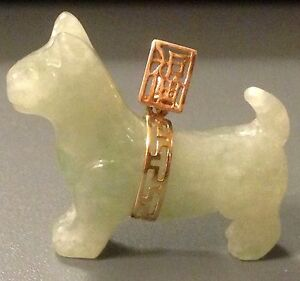 Htf Solid 14k Gold Jade Dog Pendant 3d Hand Carved 1 25 Chinese Good Luck Euc
