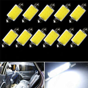 10pcs 6500k 42mm Festoon White Cob Led Map Dome Interior Lights Bulbs 578 211 2