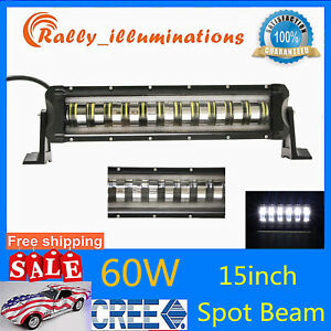 15 Inch 60w Led Work Light Bar Off Road Fog Spot Driving Lamp Angle Eye Suv Boat