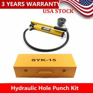 15 Ton Hydraulic Knockout Punch Driver Kit Conduit Hole Tool 10 X Cutting Dies