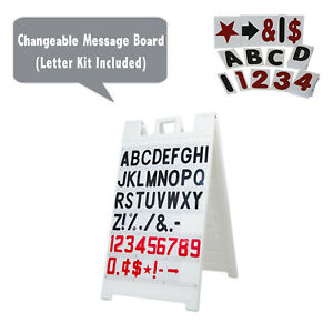 Signicade Changeable Message Board White A frame Sidewalk Sandwich Sign letters