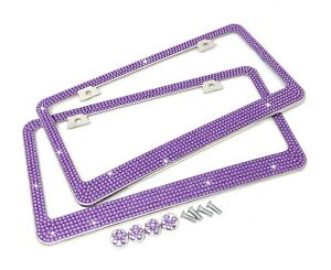 2 Pcs 7 Rows Purple Bling Diamond Crystal Metal License Plate Frame Bling Caps