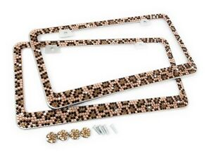 7 Rows Leopard Bling Diamond Crystal Metal License Plate Frame Bling Cap X 2