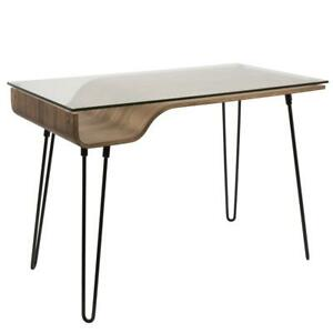 Avery Desk Walnut Clear Black