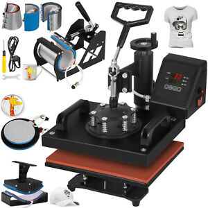 8in1 Heat Press Machine For T shirts 12 x10 Combo Kit Sublimation Swing Away