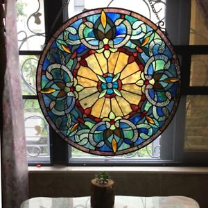 22 X 22 Historic Victorian Franny Tiffany Style Stained Glass Window Round Pan
