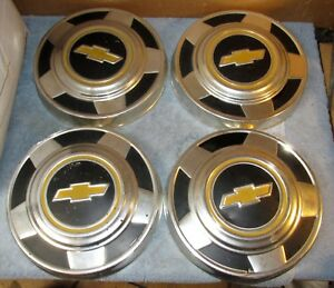 Vtg Used 1973 1987 Oem Chevy Pickup Truck 15 Hubcap Set Of 4 Van Dog Dish J0216