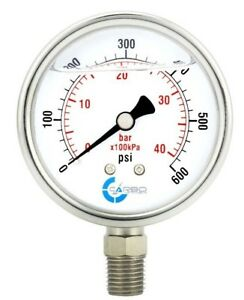 2 5 Liquid Filled Pressure Gauge 600 Psi Stainless Steel Case Lower Mount