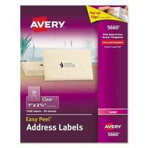 Avery Clear Easy Peel Address Labels Laser 1 X 2 5 8 1500 box 072782056605