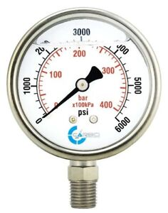 2 5 Liquid Filled Pressure Gauge 0 6000 Psi Stainless Steel Case Lower Mount