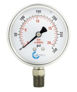 2 5 Liquid Filled Pressure Gauge 0 300 Psi Stainless Steel Case Lower Mount