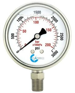 2 5 Liquid Filled Pressure Gauge 0 3000 Psi Stainless Steel Case Lower Mount