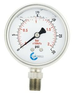 2 5 Liquid Filled Pressure Gauge 0 30 Psi Stainless Steel Case Lower Mount