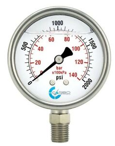 2 5 Liquid Filled Pressure Gauge 0 2000 Psi Stainless Steel Case Lower Mount