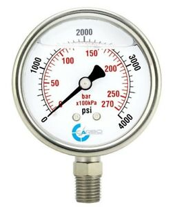 2 5 Liquid Filled Pressure Gauge 0 4000 Psi Stainless Steel Case Lower Mount