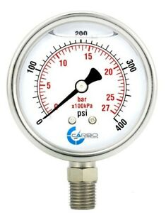 2 5 Liquid Filled Pressure Gauge 0 400 Psi Stainless Steel Case Lower Mount