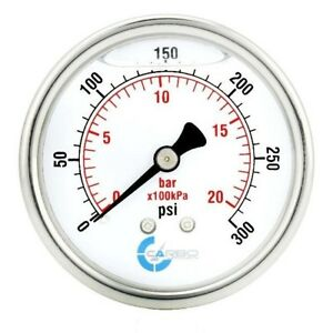 2 5 Liquid Filled Pressure Gauge 0 300 Psi Stainless Steel Case Back Mount