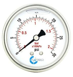 2 5 Liquid Filled Pressure Gauge 0 30 Psi Stainless Steel Case Back Mount