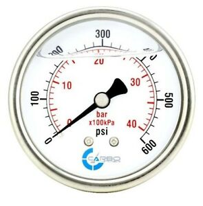 2 5 Liquid Filled Pressure Gauge 0 600 Psi Stainless Steel Case Back Mount