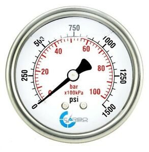 2 5 Liquid Filled Pressure Gauge 0 1500 Psi Stainless Steel Case Back Mount