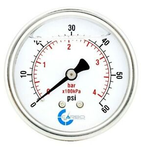 2 5 Liquid Filled Pressure Gauge 0 60 Psi Stainless Steel Case Back Mount