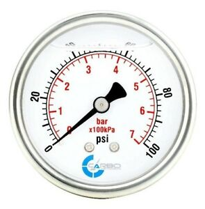 2 5 Liquid Filled Pressure Gauge 0 100 Psi Stainless Steel Case Back Mount