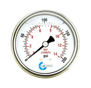 2 5 Liquid Filled Pressure Gauge 0 200 Psi Stainless Steel Case Back Mount
