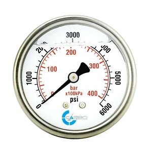 2 5 Liquid Filled Pressure Gauge 0 6000 Psi Stainless Steel Case Back Mount