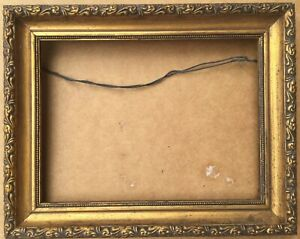 Vintage Gold Gilt Wood Gesso Ornate Small Picture Frame Beaded Gold Face