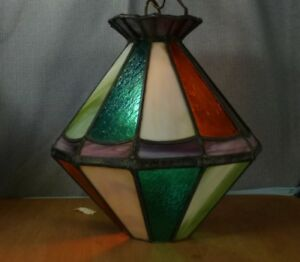 Vintage Stained Glass Hanging Lamp With Brass Chain Electric Excel Cond