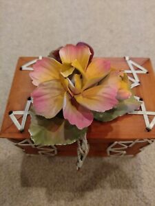 Porcelain Begonia Flower In Style Of Capodimonte W Bamboo Box For Storage