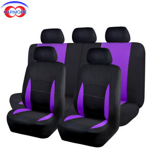 9 Pcs Seat Covers For Car Truck Suv Van Universal Protectors Polyester Purple