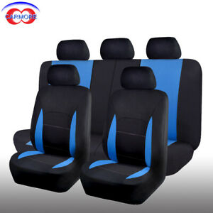 11 Pcs Universal Seat Covers Blue For Car Truck Suv Van Polyester Protectors