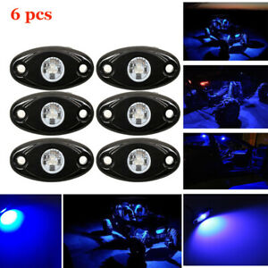 6x 9w Cree Led Rock Light Blue For Car Truck Suv Off road Jeep Underbody Lights