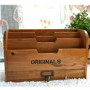 Chris wang 1pk Originals Retro Wooden Stacking Letter Tray postcards Holder penc