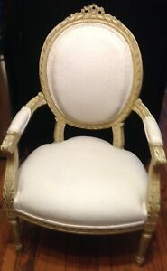 Vintage Victorian White Wood Carved Accent Chair