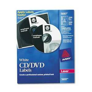 Avery Laser Cd Labels Matte White 250 pack 072782056971